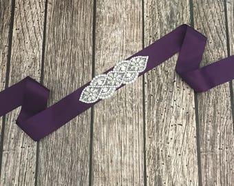 Purple wedding sash, rhinestone wedding sash, all white sash, wedding belt, simple wedding sash, purple sash