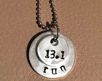 Runners hand stamped necklace half a marathon necklace 13.1