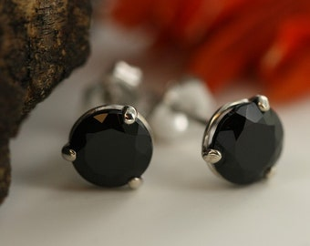Black Spinel Studs Earrings In 14K White Gold Three Prong Martini Stud Earrings Black Gemstone Earrings Round 6mm Black Stone