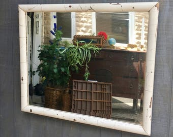Vintage Farmhouse Style Chippy White Mirror Made From An Old Window
