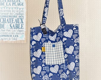 tot bag blue hearts Made in France