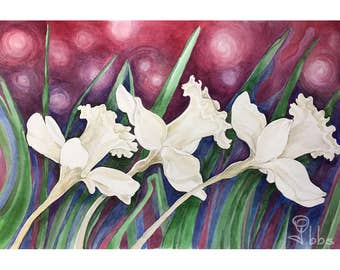 daffodil painting, original watercolor, flower art, white daffodils, purple and white wall art, white flowers watercolor painting