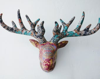 Tri pattern stag head wall mount wall deor decoupage ethnic Indian patterns