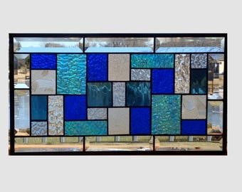 Bevel stained glass panel window hanging geometric blue clear stained glass window panel suncatcher transom 0336 18 1/2 x 10 1/2