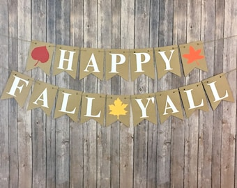 Happy Fall Y'all Banner, Fall Banner, Autumn Banner, Home Decor, Photo Prop