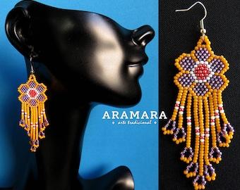 Native american earrings, Beaded Flower, Flower Earrings, Mexican Jewelry, Huichol Earrings, Mexican earrings, Mexican folk art, AF-0211