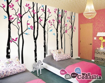 "Baby Nursery Wall Decals - Birch Trees Decal - Tree Wall Decal - Tree Wall Decals - Tree Wall Decal - Large: approx 94"" x 130"" - KC045"