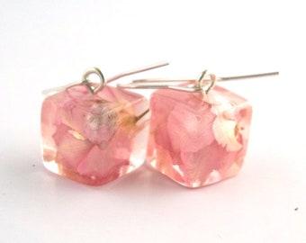 Pink Resin Earrings.  Real Flower Resin Earrings. Pressed Flower Earrings.  Handmade Jewelry with Real Flowers - Larkspur