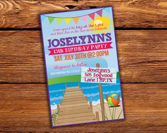 Lake or Beach Birthday Invitation - Digital File ONLY- Printable