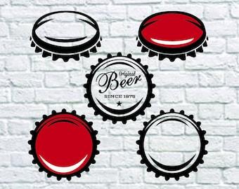 5 Bottle Cap Svg Bundle, Beer Cap Svg, Drink Svg, Craft Beer Clipart, Decal, Stencil, Cut File, Cricut File, Dxf, Eps, Png, Svg File