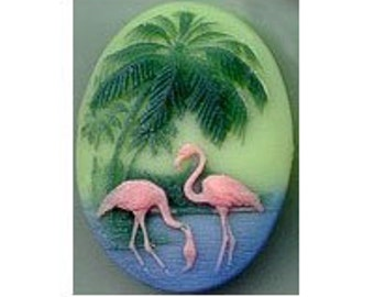 Pink Flamingo Cameo carribean green coral cabachon 40x30 cabochon 1950's retro style key west style tropical southern jewelry supplies 453r