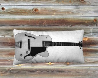Acoustic Guitar Pillow Black&White-Medium Decorative Pillow -Wee Dog - Acoustic Guitar -Guitar Pillow -Music - Musician - Unique Photography