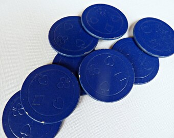 Vintage Poker Chips ~ Blue Chipboard Card Suits