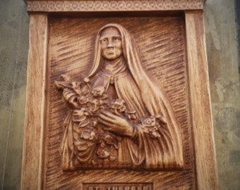 Original Carved Wooden Plaque of St. Therese of Lisieux