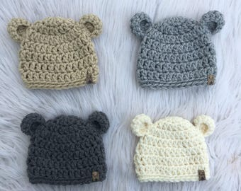 Crochet Bear Hat   Baby Hat   Newborn Hat   PICK YOUR SIZE   Baby Shower Gift   Newborn Photo Prop   Crochet PhotoProp   Newborn Baby Beanie