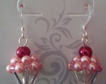 Beaded Strawberry Cupcake Earrings With Cherries On Top