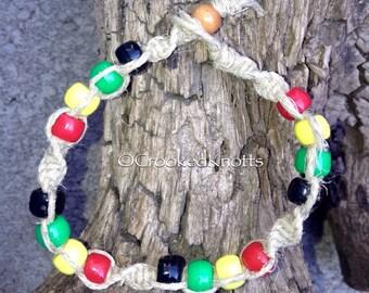 Hemp Rastafari Beaded Bracelet