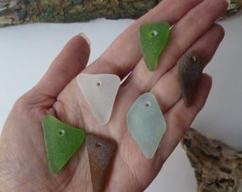 Bulk sea glass Top drilled sea glass Jewelry Supply Jewelry Making Supplies Real Bulk Pendant Supply Sea glass jewelry Sea Glass Lot