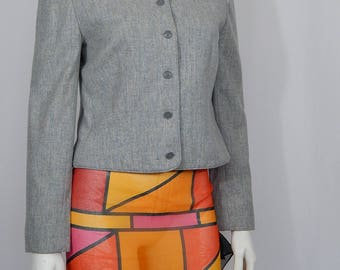 Vintage Women's Small S Gray Tan Heathered Wool Collarless Miss Pendleton Crop Short Blazer Jacket Made in USA 80s Eighties Career
