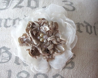 Large fabric clip on rose flower rosette clip singed white chiffon taupe satin beaded for hair, decor, clothing wedding accessory