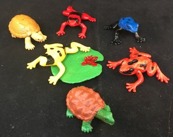 "Vintage Plastic Frogs, Turtles and Lilly Pad, Four Frogs, Two Turtles and One Lilly Pad 2"" Long 1.5"" Wide Previously 8 Dollars ON SALE"