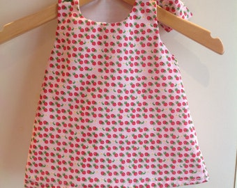 Baby toddler girl handmade polycotton lined pinafore dress strawberries head-wrap outfit