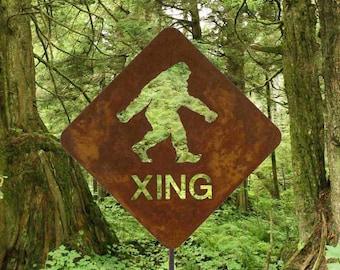 Bigfoot Sasquatch or Yeti Crossing Metal Yard Art or Garden Stick Sign