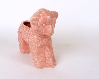 Vintage Lamb Figurine McCoy ceramic indoor planter, Pink collectible pottery McCoy indoor planter, 4 x 7 x 5