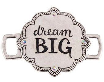 Quote Connector Pendant Word Pendant Link DREAM BIG Pendant Antiqued Silver Large Band