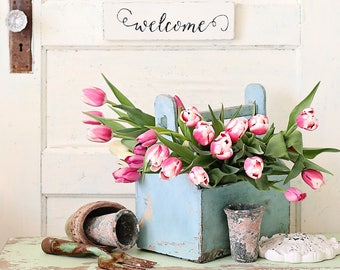 Tulip still life photograph,spring photo, Fine art  print, pink tulips,cottage,flower photography,shabby chic decor,vintage
