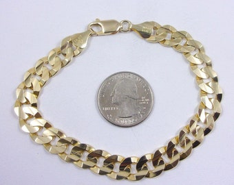"""Solid 14K Yellow Gold Cuban Curb Link Bracelet, 8.75"""", 10mm, 28.8 grams, Italy"""