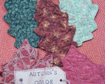 Primitive Country FALL LEAVES Fabric Coasters Mug Mats Bowl Fillers Ornies