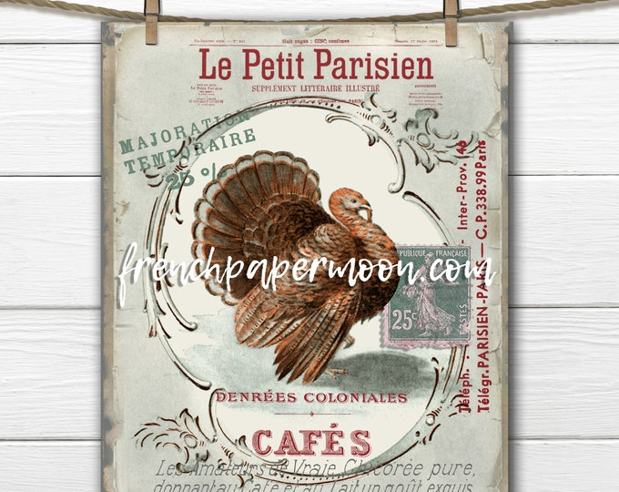 Vintage Turkey, Thanksgiving Graphic, Printable Instant Download, French Graphics, French Pillow Image, Holiday Crafts