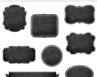8 Chalkboard Frames Clipart Set 2 - For Personal and Commercial Use - INSTANT DOWNLOAD