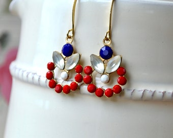 Red White & Blue Earrings, 4th July Drop Earrings, Fun Statement Earrings, Kitschy Earrings, Independence Day Jewelry, 4 July Gift for Women