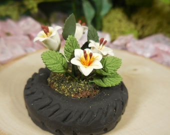 Miniature Tire Planter with Lilies ~ Fairy Garden Tire Flower Planter ~ Miniature Artificial Flowers for Fairies ~ Miniature Garden Supply