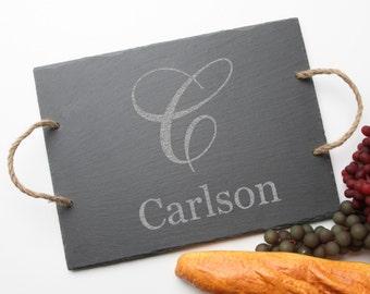 Personalized Slate Cheese Board Custom Engraved Slate Cheese Board Monogram Personalized Serving Board Wedding Gift Host Hostess Gift D3