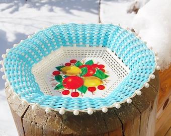 Plastone Turquoise Basket Woven Citrus Cherries  Made in Greece