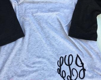 monogram raglan shirt, baseball tee monogram, monogrammed baseball raglan, monogrammed shirt, custom raglan, monogrammed baseball tee