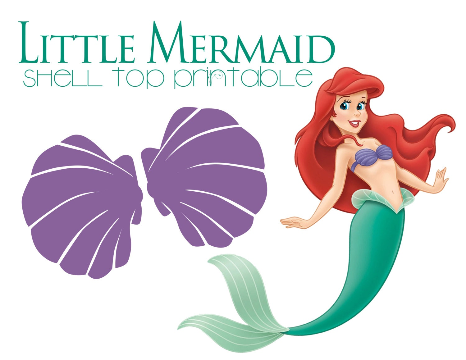 Ariel Little Mermaid Purple Shell Top Printable Iron On DIY