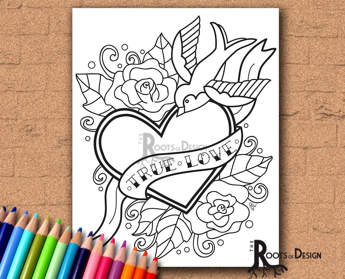 zoom INSTANT DOWNLOAD Coloring Page Tattoo Style True Love Heart