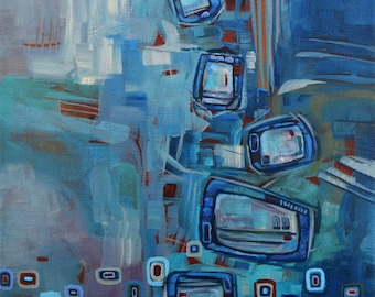 Abstract Painting, FREE Shipping, blue Painting, Contemporary art, Acrylic Painting, Art, Painting, Abstract, office decor, Home Decor