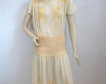 1920's Hungarian Sheer Cotton Dress / Smocked and Embroidered Peasant Dress / Size: Small