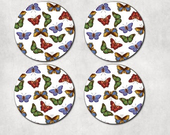 Butterfly coasters, butterfly print, nature decor, housewarming, hostess gift, round coaster, 4 coaster set, flutterby, pretty butterfly
