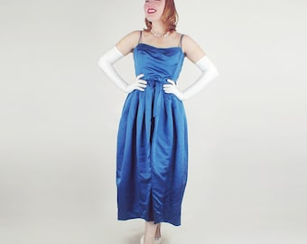 50s Blue Silk Satin Formal Gown by Helga S