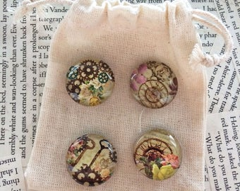 Steampunk Magnets Made From Glass Cabochon. Use on Refrigerators or Magnetic Noticeboards. Flowers and Cogs.