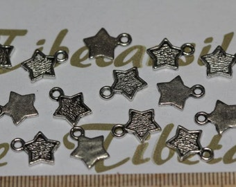 24 pcs per pack 8mm Star Charm Antique Silver Finish Lead Free Pewter