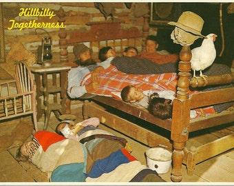 Vintage 1970s Postcard Hillbilly Togetherness Americana Southern Pride Funny Cabin Rural Kitsch Card Photochrome Era Postally Unused