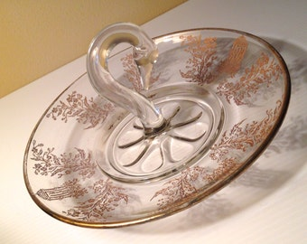 Vintage Paden City swan serving plate with etched designs in gold