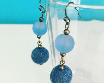 Newport Felt Earrings in County Blue, Dangle Earrings, Gift for Wife, Merino Wool, Fiber Jewelry, Wedgewood, Gift Under 20, Recycled Glass
